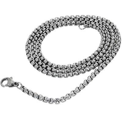 Box Chain Medium Width Steel Mens Box Link Necklace Chain