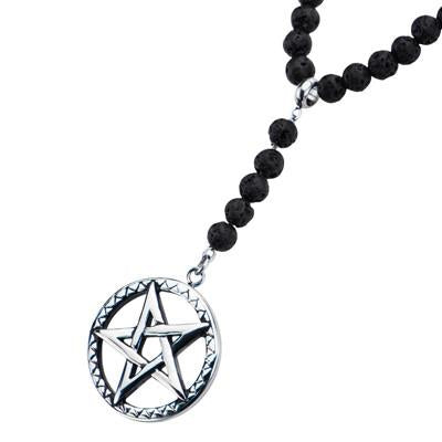 PENTAGRAM STAR AMULET Steel and Lava Bead Mens Necklace