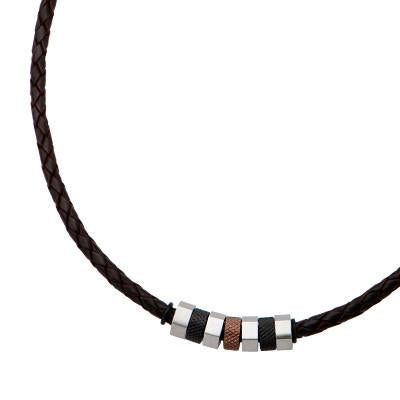 Triple Shot Mens Necklace Leather with Black Steel Beads