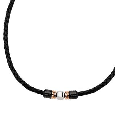 Sweet and Sour Mens Leather Necklace Rose Gold Steel Bead