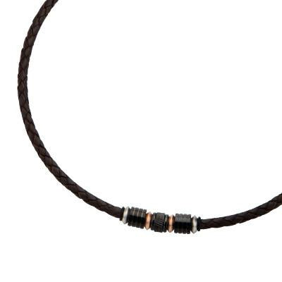 Leather Mens Necklace Sanctuary Rose Gold Black Steel