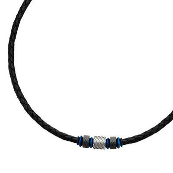 Black Leather Mens Necklace Laguna with Blue Steel