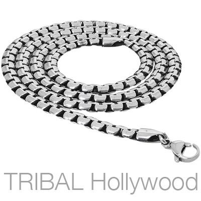 Mens Necklace The Playhouse Flat Curb Link Steel Chain