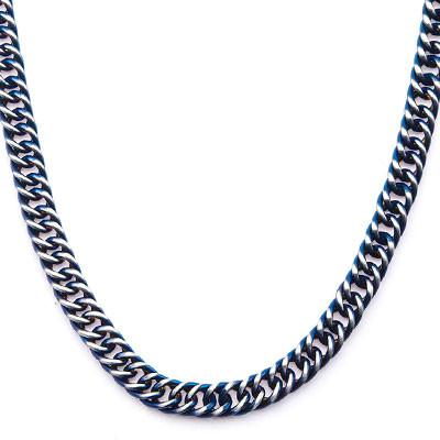 Steely Blue Stainless Steel Modern Mens Curb Chain Necklace