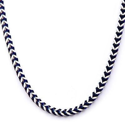 Blue Edge Natural and Blue Steel Mens Franco Link Chain