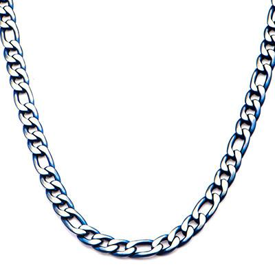 Blue Tint Natural and Blue Steel Mens Figaro Link Necklace