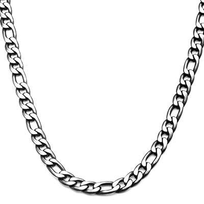 Dusk Natural and Black Steel Mens Figaro Link Chain