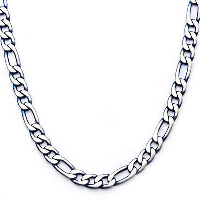 Blue Tint Natural and Blue Steel Mens Figaro Link Chain