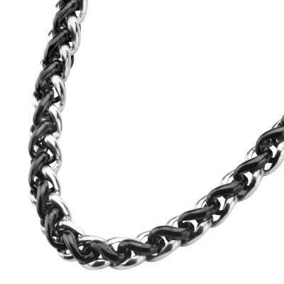 Internecto Black Bright Woven Steel Wheat Chain Necklace