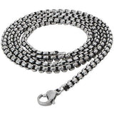 Dark Steel Oxidized Steel Mens Box Link Necklace Chain