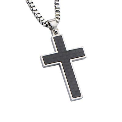Nubilus Black Carbon Fiber Mens Cross Necklace