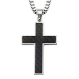 Nubilus Black Carbon Fiber Mens Cross Necklace Front View