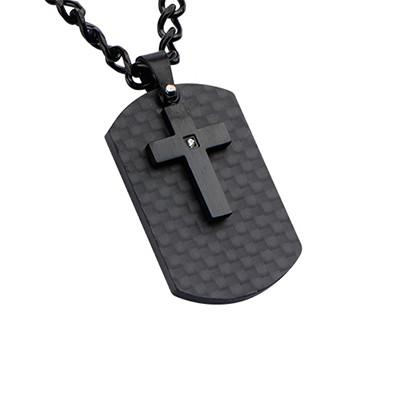 Midnight Mass Mens Black Steel Cross Mens Dog Tag Necklace