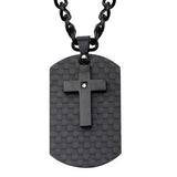 Midnight Mass Mens Black Steel Cross Mens Dog Tag Necklace Front View