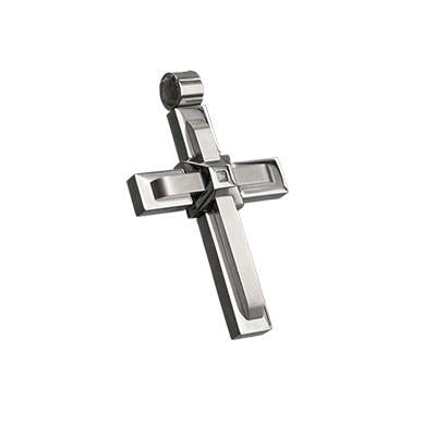 Stacked Crosses Stainless Steel Mens Cross Necklace Pendant