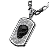 Black Onyx BLING SKULL Mens Necklace on Crystal Dog Tag