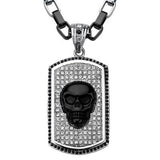 Black Onyx BLING SKULL Mens Necklace on Crystal Dog Tag Front View