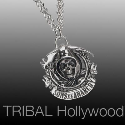 Sons of Anarchy Reaper Mens Steel Medallion Necklace