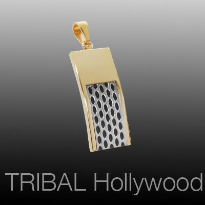 Mens Dogtag Necklace Pendant SPEEDSTER DOG TAG in Black and Gold Steel | Tribal Hollywood
