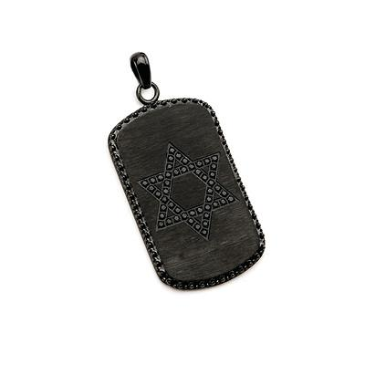 Commandment Star of David Black Steel CZ Stone Mens Dog Tag
