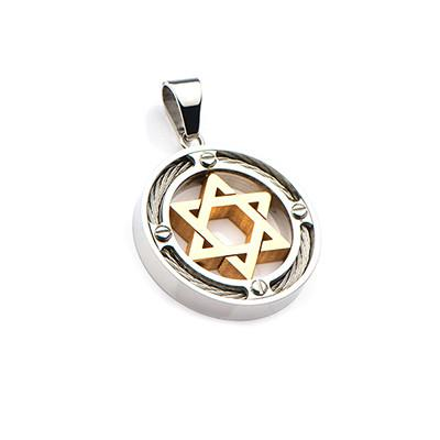 Circle of Faith Star of David Gold Steel Necklace Pendant