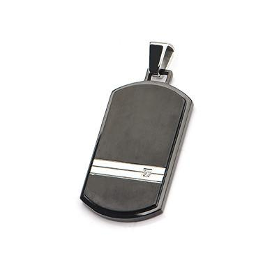 RSVP Black and Natural Steel Modern Mens Dog Tag w CZ Stone