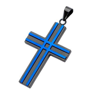 Black and Blue Steel BLIZZARD CROSS Necklace for Men