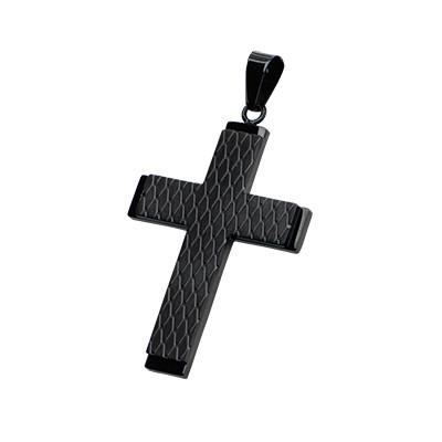 Speed Demon Diamond Pattern Black Steel Mens Cross  Pendant