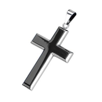 Black and Steel Mens DIVINITY CROSS Necklace Pendant