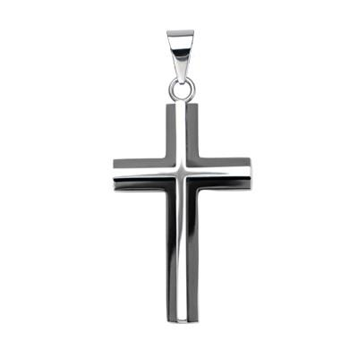 Black And Steel Clergy Cross 3d Mens Necklace Pendant