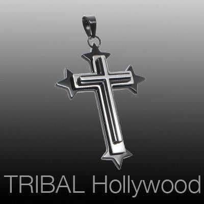 Mens Necklace Pendant SACROSANCT CROSS with Black Stainless Steel | Tribal Hollywood