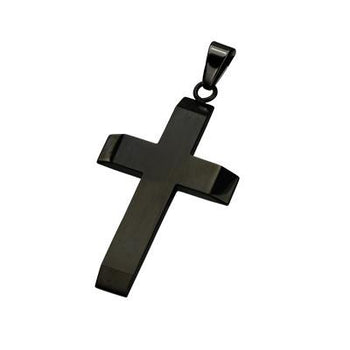 Risen Plain and Simple All Black Steel Mens Cross Pendant