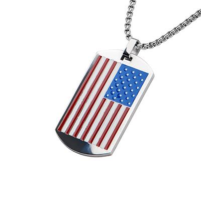 Country Pride Red, White and Blue Steel US Flag Mens Dog Tag