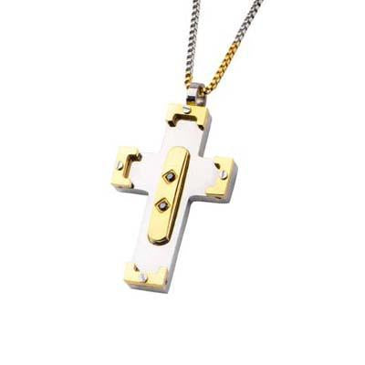 Bolted Cross Gold IP Steel Mens Cross Pendant Necklace