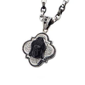 Smiling Buddha Onyx Pendant Necklace
