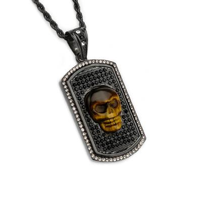 Tiger Eye Bling Skull CZ Stone Black Steel Dog Tag Necklace