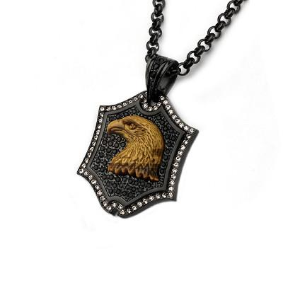 Tiger Eye Eagle Black Steel CZ Stone Mens Shield Necklace