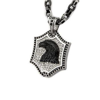 Black Onyx Eagle Steel CZ Stone Mens Shield Necklace