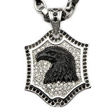 Black Onyx Eagle Steel CZ Stone Mens Shield Necklace Front View