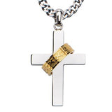 Crown of Thorns Gold IP Steel Ring on Cross Pendant Necklace Front View