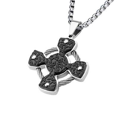 Iron Celtic Cross Steel Cable Black Steel Mens Necklace