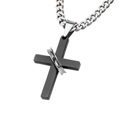 Christ Eternal Steel Ring on Black Cross Pendant Necklace