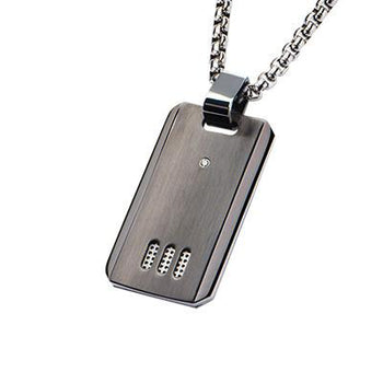 Triptych Gunmetal IP Steel CZ Stone Modern Dog Tag Necklace