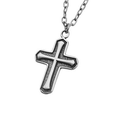 Simple Faith Oxidized Stainless Steel Mens Cross Necklace