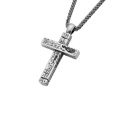 Weathered Cross Aged Relic Steel Mens Cross Necklace