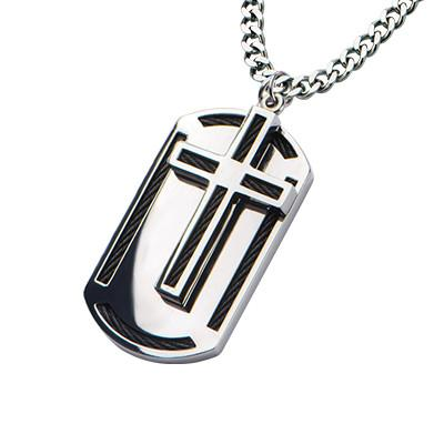 Moving Cross Black Cable Steel Mens Dog Tag Necklace