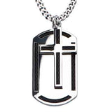 Moving Cross Black Cable Steel Mens Dog Tag Necklace Front View