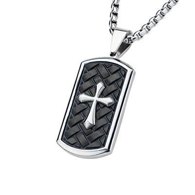 Pointed Passion Cross Dog Tag Black Steel Mens Necklace