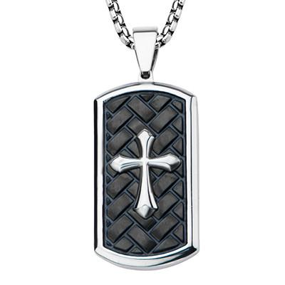 1d5e580d43820 Pointed PASSION CROSS DOG TAG Black Steel Mens Necklace