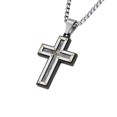 Survivor Cross Black Stainless Steel Mens Cross Necklace